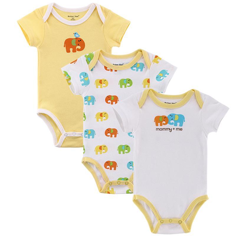 Acquista Nido Di Mamma 3 Pezzi   Lotto Fantasia Tuta Bebè Neonato Tuta  Intera Manica Corta Body Suit Abbigliamento Bambino Set Cotone Estivo  Y18102008 A ... b762b15a2ad