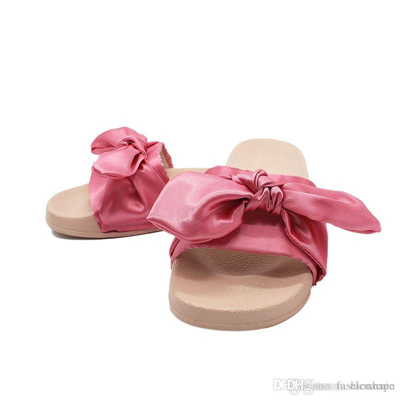 new arrival dc526 d11da Luxury Rihanna Slippers With Bow-Tie Ribbon Accessories Fashion Summer  Women Beach Slippers Luxury Pink Casual Sandals Slippers