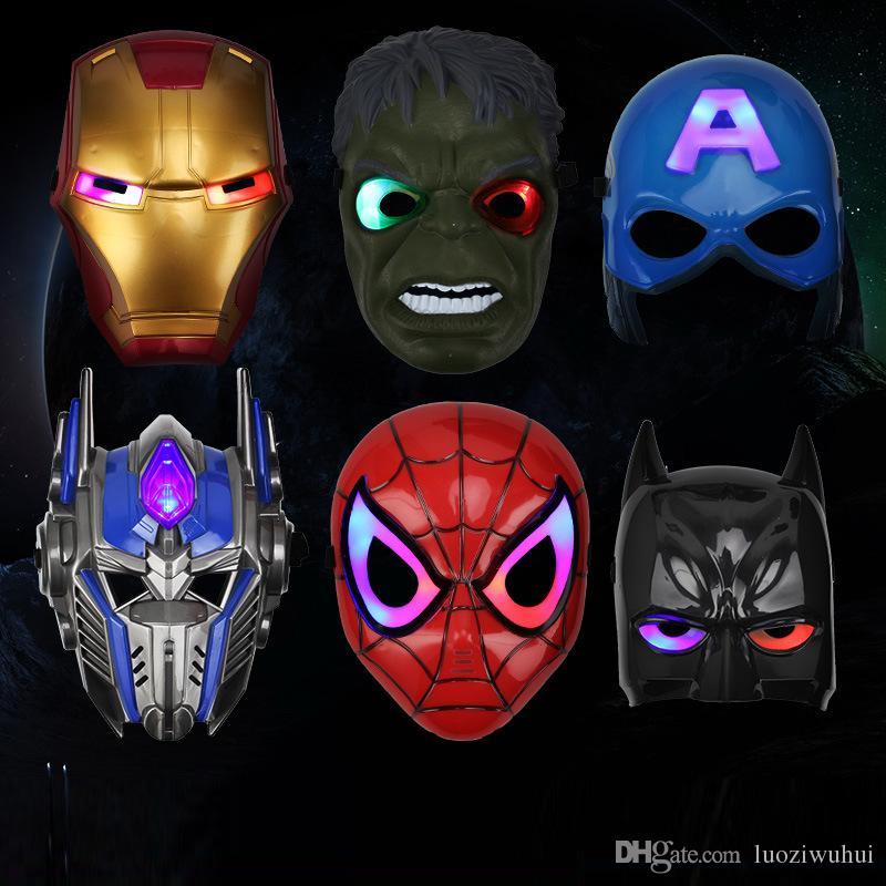 2018 led masks children animation cartoon spiderman light mask