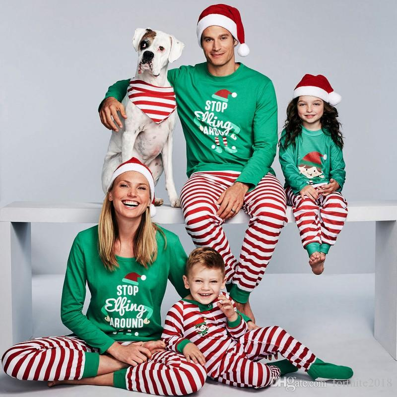 f929c7e284 Family Matching Christmas Pajamas Set Xmas Adult Men Women Baby Kids  Sleepwear Nightwear Family Green Match Pjs Set Matching Outfits For Mothers  And ...
