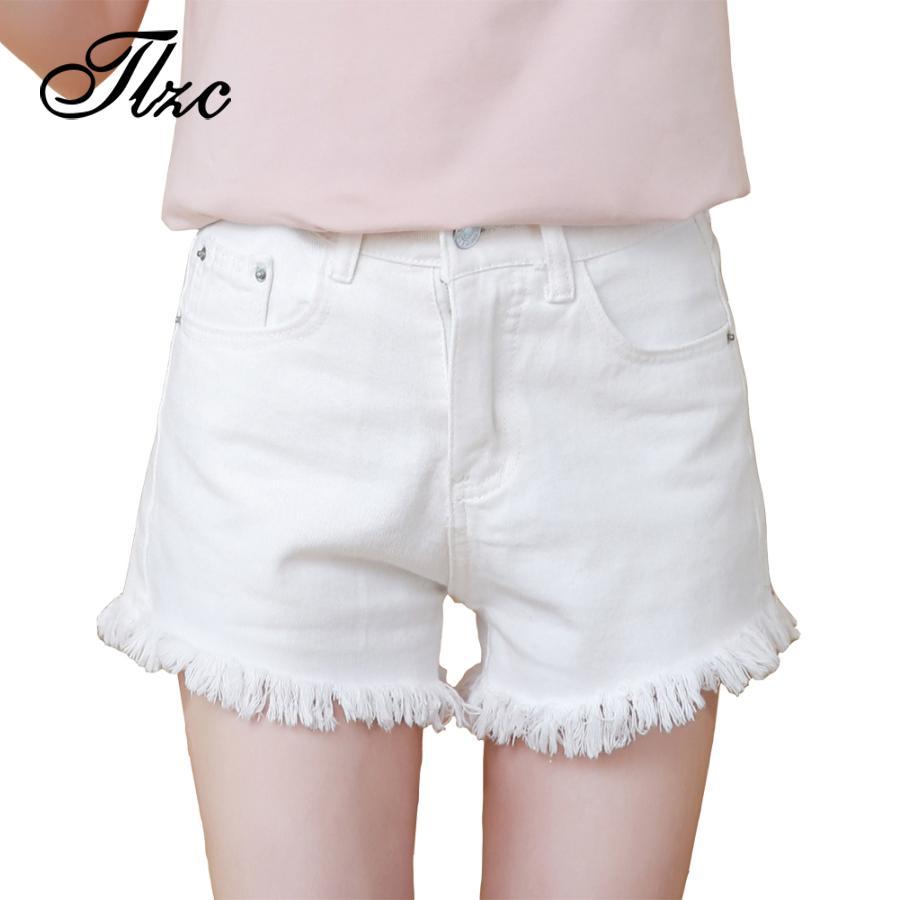 8c68a0a299b 2019 TLZC 2017 Summer Shorts Women Denim Shorts White Plus Size S 4XL  Frayed Hem All Match Lady Slim Jeans Short Clothing From Yuanbai