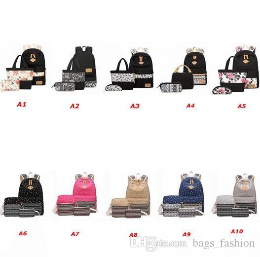 279b885c6d11 Unisex Stylish Canvas Printing Backpack Women School Bags For Teenage Girls  Cute Black Set Travel Backpacks Female Bagpack Backpacks For Kids Backpack  With ...