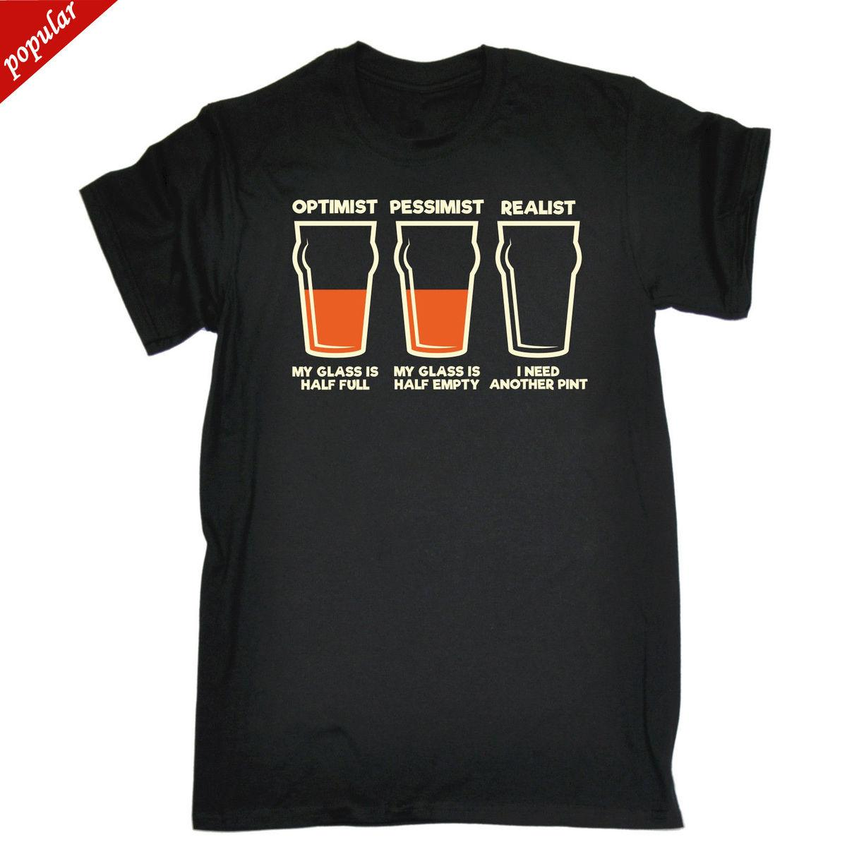 Optimist Pessimist Realist Mens T Shirt Tee Verjaardag Grappige