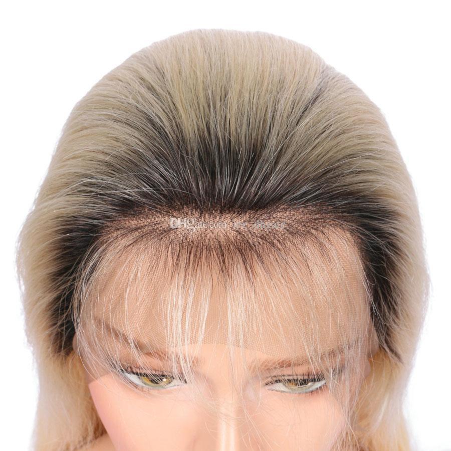 Прямые 1b 613 Glueless полный парики кружева Реми человеческих волос с волос ребенка Ombre 1b 613 темные корни блондинка для черных женщин