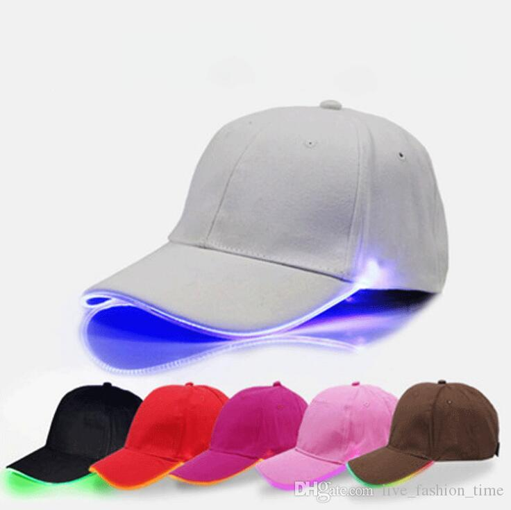 2018 New LED Light Baseball Cap Men Women Team Fitted Baseball Caps  Snapback Glow LED Hats Baseball Caps Running Bone Garros Dad Hat Cap Hat  Flat Caps For ... 2851f4fdf727