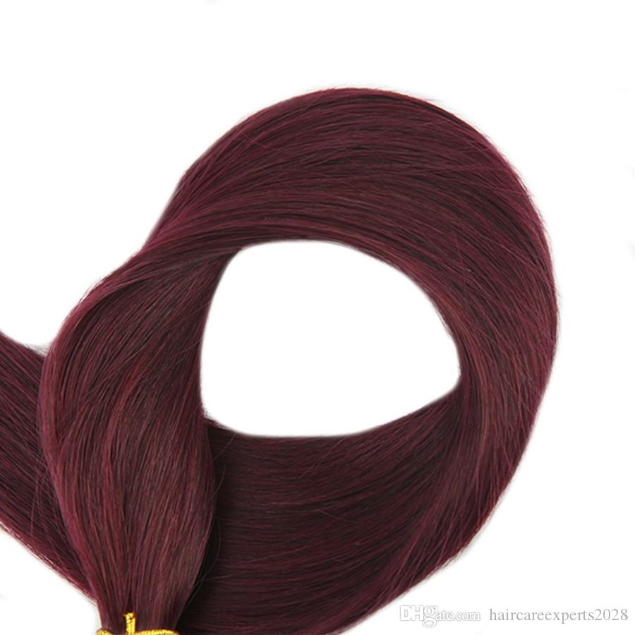 ELIBESS HAIR -Red Wine Color # 99J 0.8g / strand 200strands Straight Wave Nano Ring extensiones de cabello humano