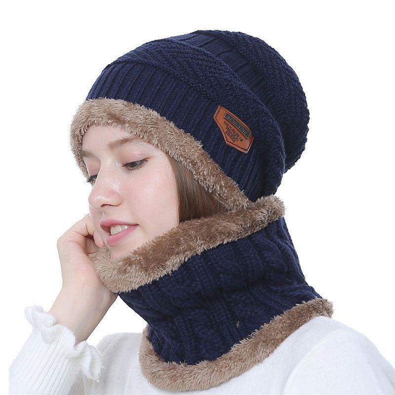 3071ea3d023 2018 Winter Hat Scarf Set Unisex Solid Knit Beanies Plus Velvet Hat Men Cap  Women Warm Thicken Hedging Cap Ski Soft Ring Scarf Scarf Hat   Glove Sets  Cheap ...