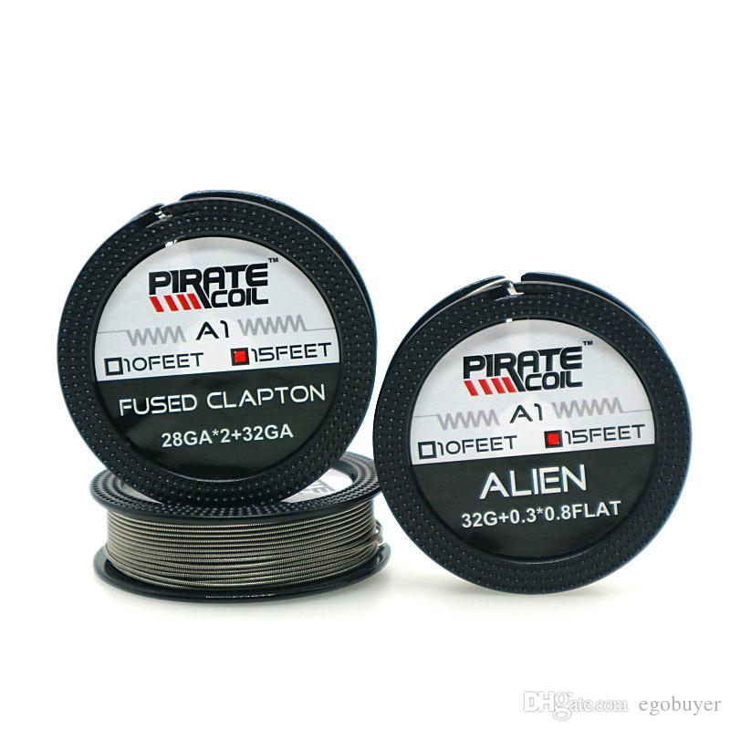 100% Original PIRATE COIL A1 Resistance Wire Alien Fused Clapton Wire 15  Feet Clapton Coil Wires Electronic Cigarette Accessories For RDA Loose Wire