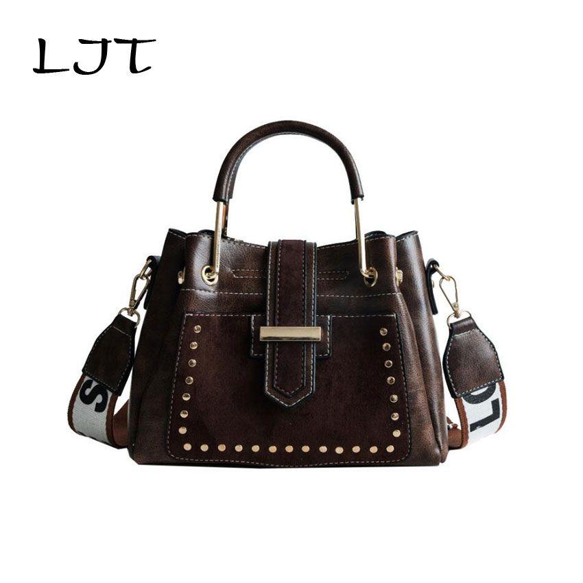5811f7626551 LJT Vintage PU Leather Woemn Luxury Handbags Designer Ladies Rivet Shoulder Messenger  Bag Female Metal Top Handle Tote Bag Mens Bags Messenger Bags For ...