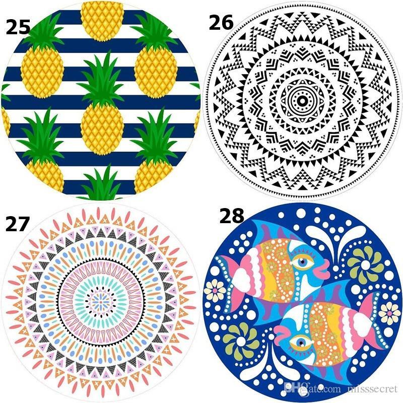 150cm böhmische Art-runde Strand-Tuch-Picknick-Decke druckte Sport-Schal-Yoga-Matten-Quasten-Strand-Decke Badetuch 39 Styls
