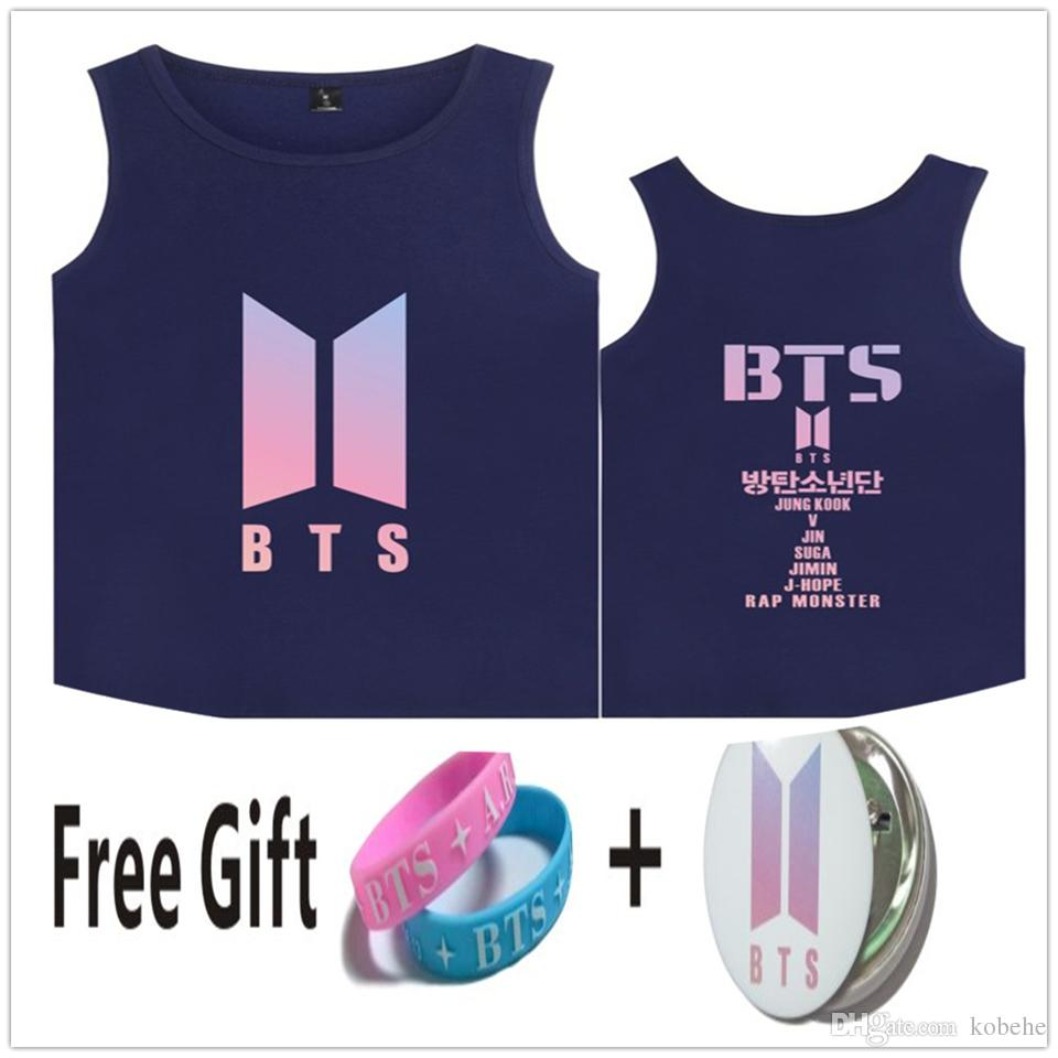 180a7af55929a 2019 BTS Funny T Shirts Kpop Tank Tops Summer Women Men Soft Sleeveless  Workout Tank Top Streetwear Style Casual 4XL Female Vest From Kobehe