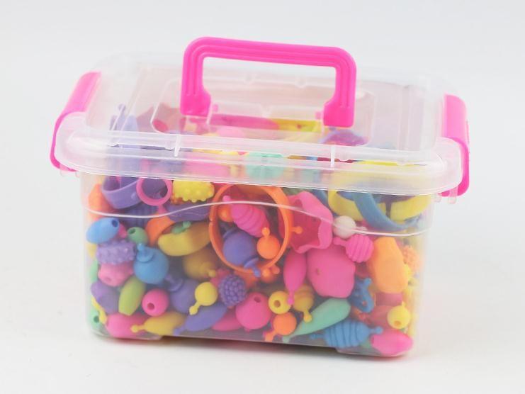 Children's educational mosaic string beads DIY colorful stringless plastic beads girls toys