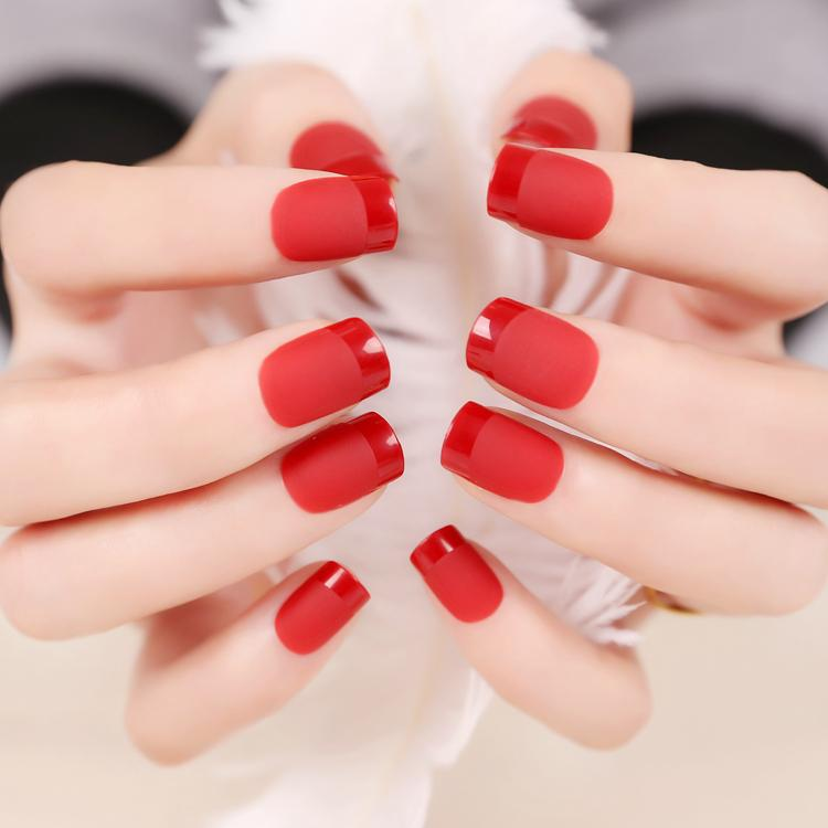 Maquiagem Unhas Bright Red False Nail French Frosted Surface Texture