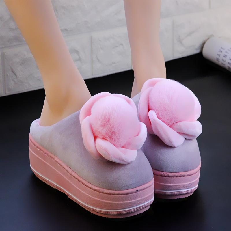 b50e714646f Cotton Slippers Ladies Thick Bottom Winter Half Bag With Warm Cotton Shoes  Home Comfortable Rose Hair Ball Slippers Women Ankle Boots Slippers From  Godefera ...