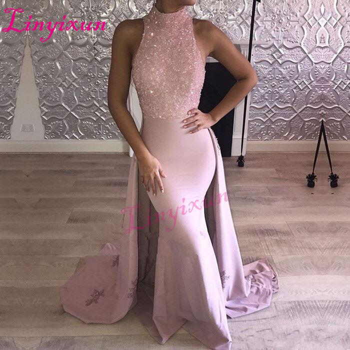 Linyixun 2018 Pink Mermaid Prom Dresses with Beads Lace Appliques Sleeveless Figure-flattering Floor Length Evening Dress Gowns C18111601