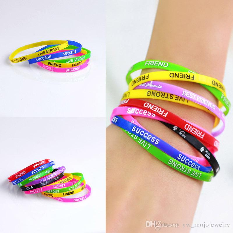 2019 New Design Summer Hot Sale Printed Silicone Bracelets Good Luck Rubber Wristband Mix and Match 12PCS