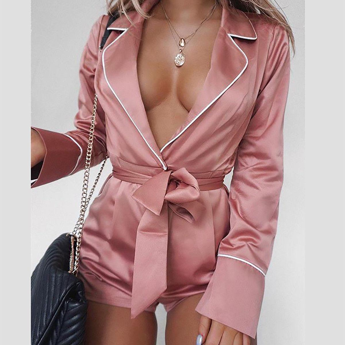 Women Fashion Sexy Jumpsuits Romper 4 Colors Long Sleeve Turn-Down Collar V-Neck Sashes Belt Jumpsuits Romper