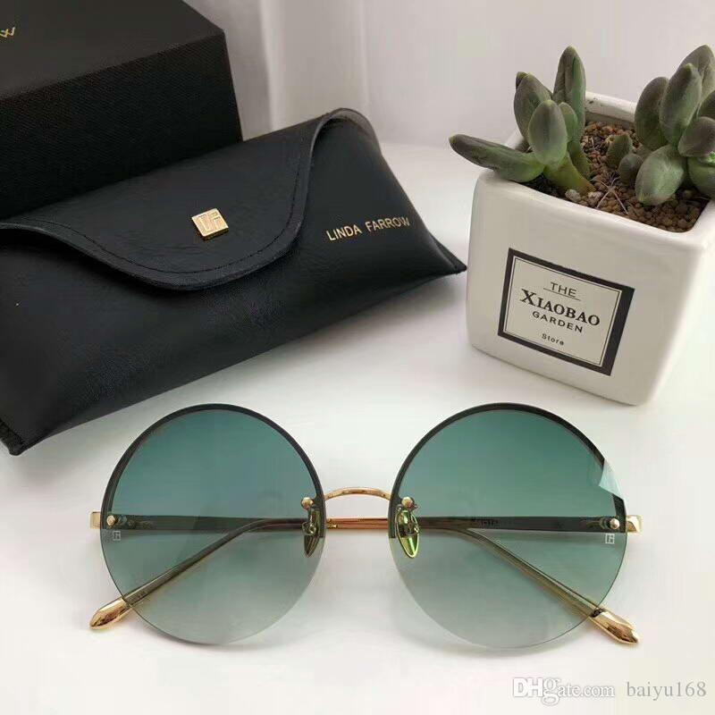 60f93f1b7e5d Linda Farrow LFL565 Round Sunglasses Gold green Gradient Smoke Lenes ...