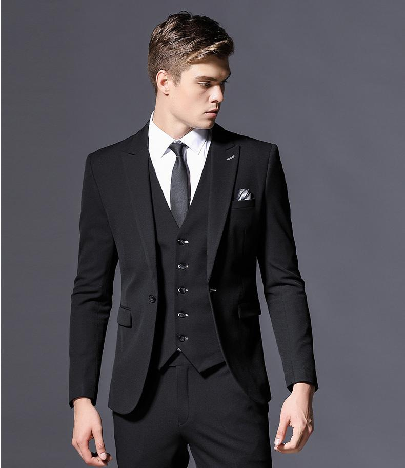 Compre Tailor Made Negro Trajes De Boda Para Hombres Slim Fit Novio Fiesta  De Baile Esmoquin Escudo Masculino Chaqueta De 3 Piezas + Pantalón +  Chaleco ... 1b0c986d3fa