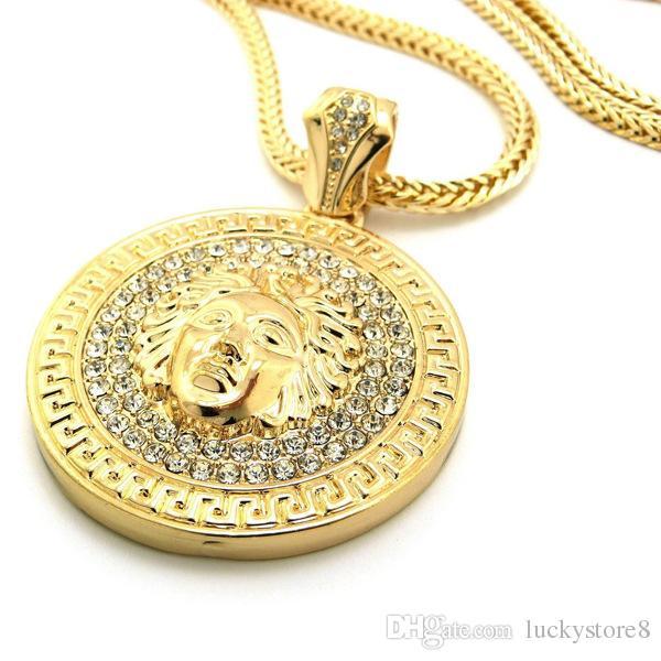 2018 الهيب هوب قلادة طويلة 24 كيلو مطلية بالذهب ميدوسا الرمزية جودة عالية الكريستال يسوع قطعة قلادة الأزياء والمجوهرات للنساء الرجال XQ03