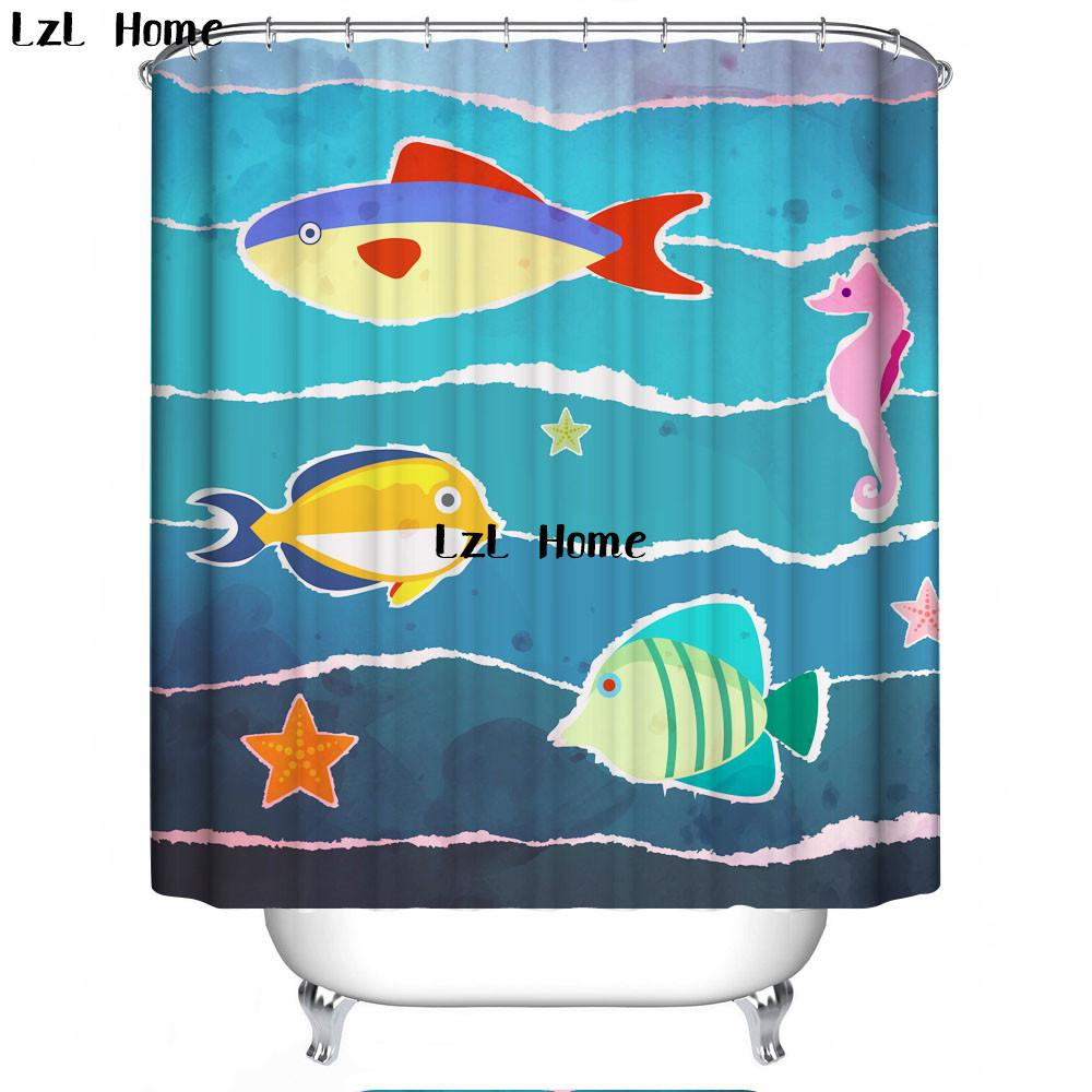 2019 LzL Home Blue Sea And Marine Life Shower Curtain Bathroom Decor Waterproof Ocean Curtains High Quality From Caronline
