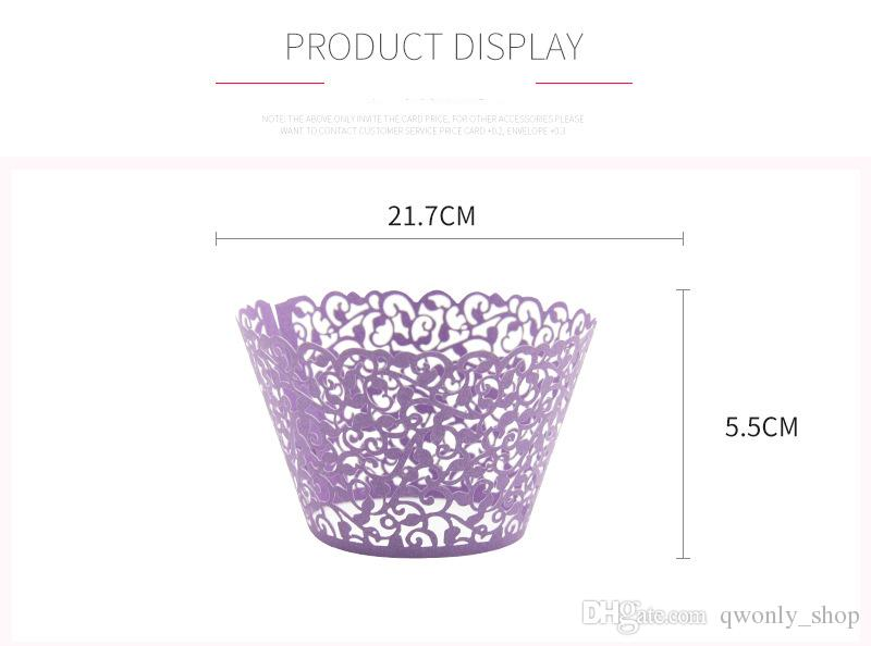 Promotion Vine Filigree Laser cut Lace Cup Cake Wrapper Cupcake Wrapper FOR Wedding Christmas Party Decoration Pink/White/Blue/Purp