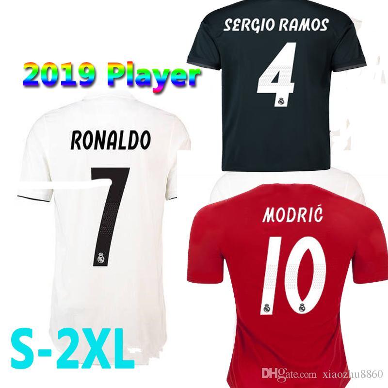 half off 28aef 1f1b4 Player 2018 2019 Real Madrid Soccer Jersey 18/19 UCL soccer shirt Ronaldo  Bale Football uniforms Asensio SERGIO RAMOS zidane isco shirt