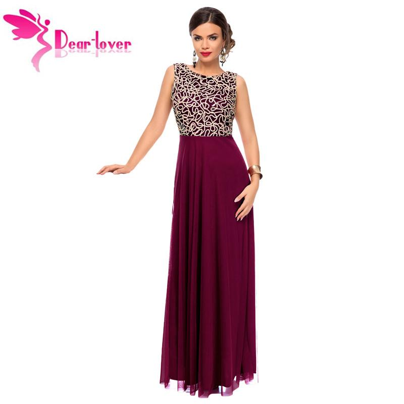 99ad7fb5cc085 Dear-Lover Party Formal Gowns Ever 2017 Elegant Gold Embroidery Detail  Purple Tulle Overlay Dress Vestido de festa Largo LC61434