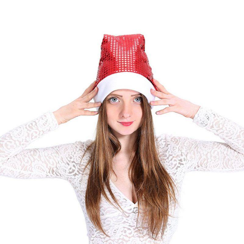 063b78aef3de3 2019 Unisex Warm Red Christmas Gift Sequin Hat High Mesh Christmas White  Brushed Side Hair Ball Hat Top Sale New From Emmanue