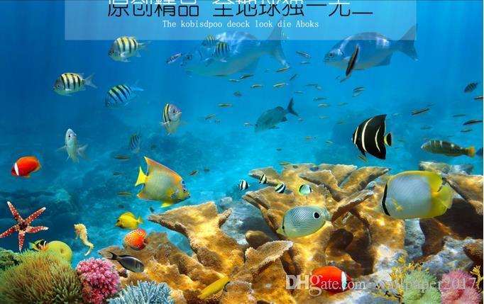 Assoalho tridimensional subaquático do banheiro do mundo 3D do assoalho dos peixes do assoalho do PVC ao assoalho que pinta