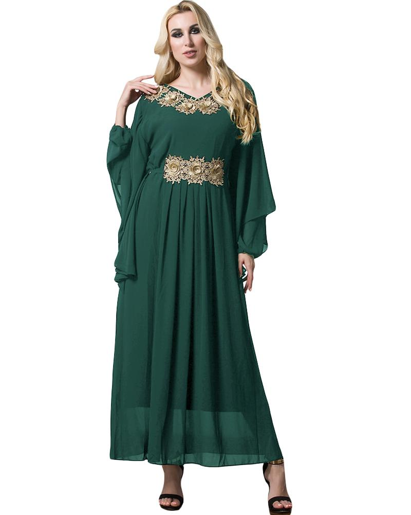 d9b94f8d015b Women Fashion Muslim Maxi Dress Embroidery Long Sleeve Abaya Dress Kaftan  Islamic Arab Turkish Robe Chiffon Dress Black Green Dress Women Floral  Sundress ...
