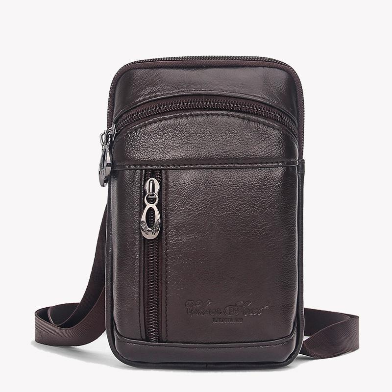 9e9e9363e691 Men Small Messenger Shoulder Fanny Bags Fashion Cross Body Casual Genuine  Leather Bag Purse Cell Phone Case Waist Belt Pack Bag