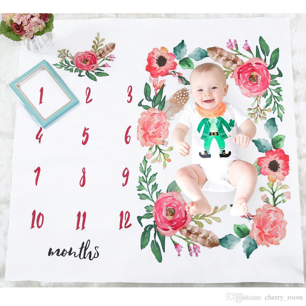Flower baby blanket floral number printed boys girls photo blankets flower baby blanket floral number printed boys girls photo blankets wrap birthday figure cotton newborn photography izmirmasajfo