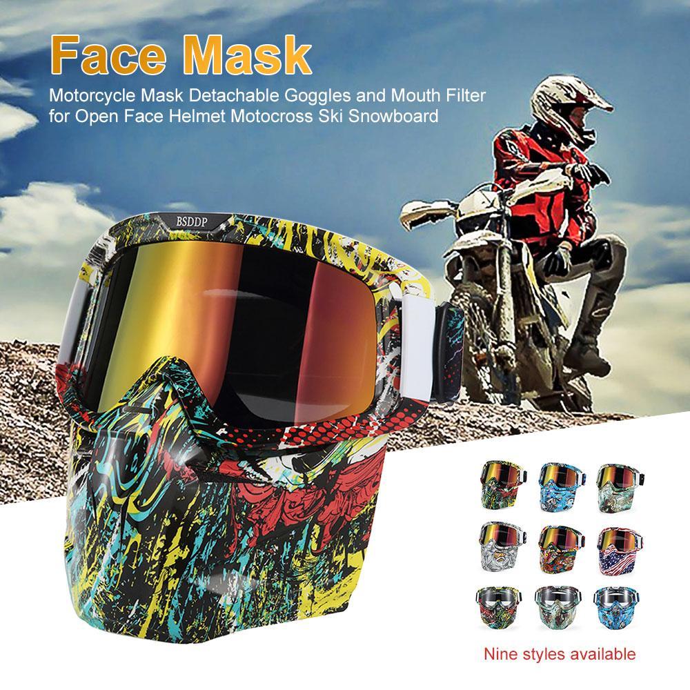b5b58d2dd146f Compre Bicicleta Motocicleta Máscara Facial Óculos De Motocross Moto Motor  Aberto Rosto Destacável Óculos De Proteção Capacetes Óculos Vintage  Universal De ...