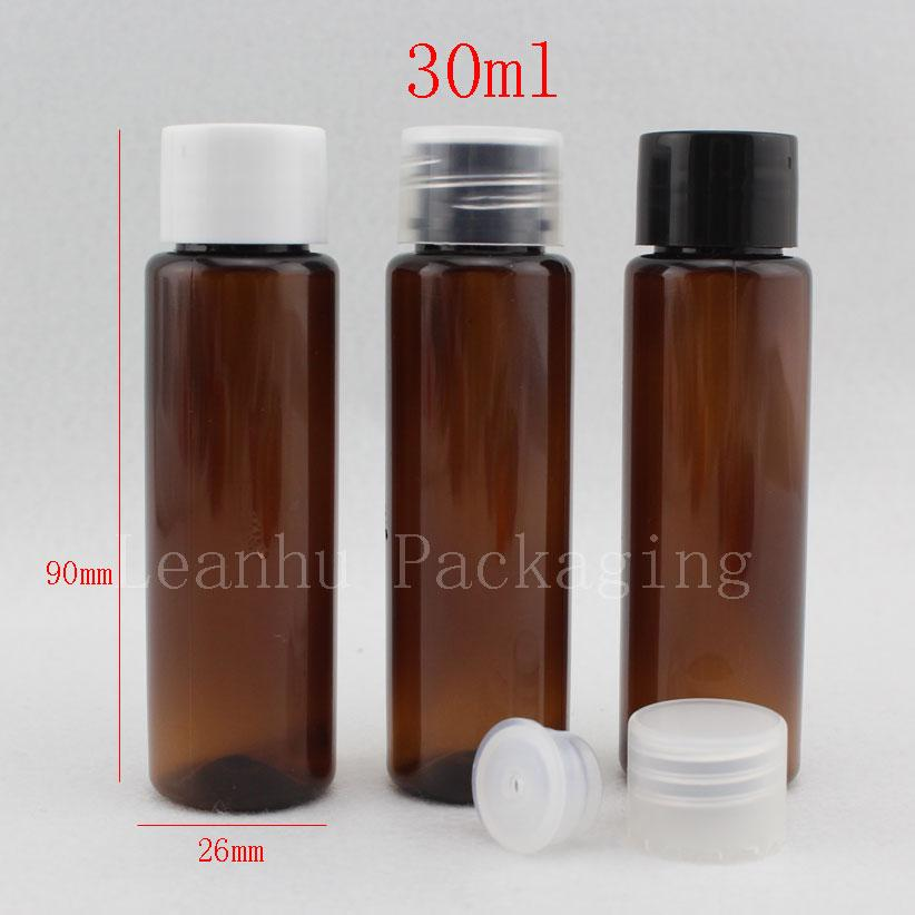 30ml X 100 brown empty small plastic bottle with screw cap ,30cc sample amber cream lotion cosmetic container , travel kits