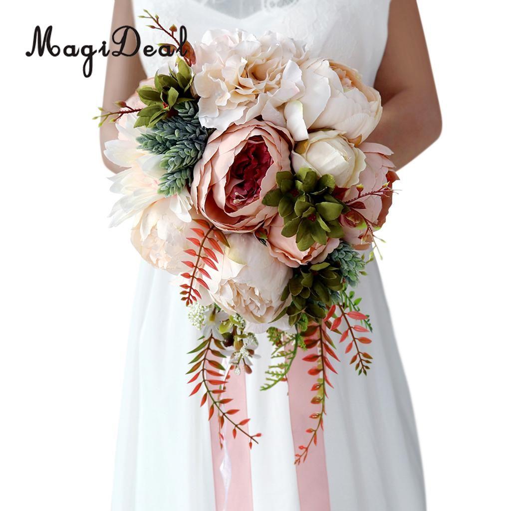 2018 Wholesale Beautiful Artificial Peony Flower Bouquet Wedding ...