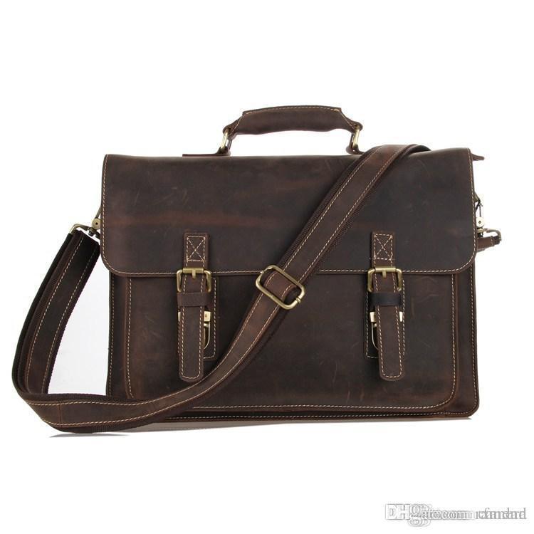 6c170c52a0 Nesitu High Quality Vintage Genuine Leather Men Crazy Horse Leather  Briefcase Messenger Bags 14   Laptop Portfolio  M7205 Wheeled Briefcase  Briefcase On ...