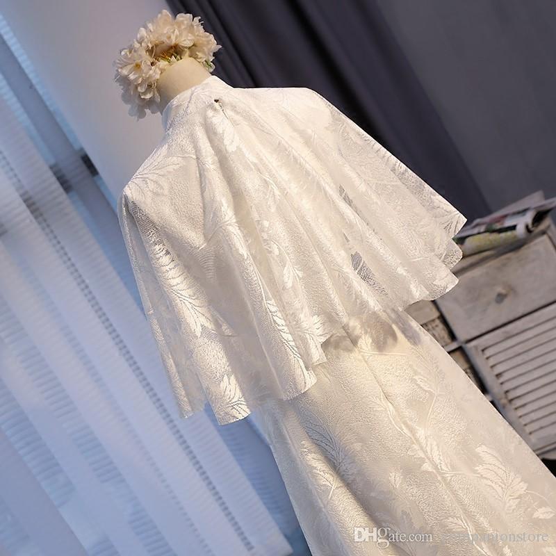 Yüksek Kalite Beyaz Dantel Anne Gelin Elbiseler ile Yüksek Boyun Ceket Fermuar Balo Kat Uzunluk Onepiece Vestido de fiesta