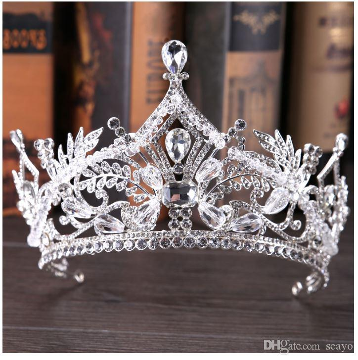 2018 the new bride headdress, European Crystal Crown, bride wedding jewelry, color white, factory direct sales