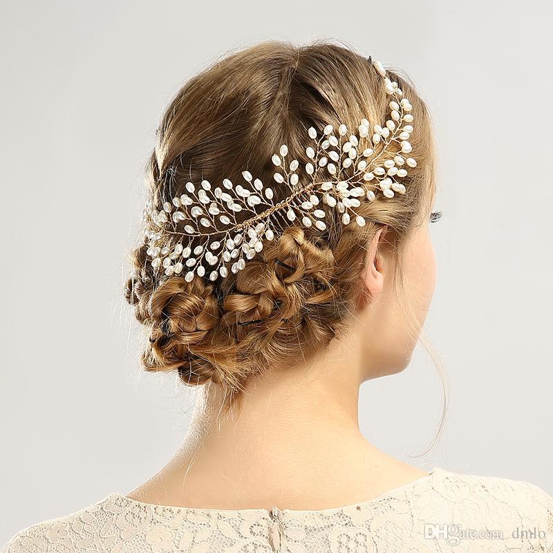 Elegant Headdress Bridal Wedding Hair Combs for Bride Pearls Women Hairbands Silver Bridal Headpiece Hair Bands Hair Jewelry Accessories