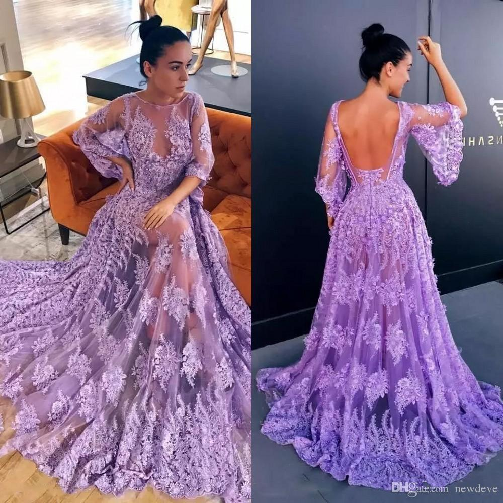 ff61fcd7a9 Stylish Lavender Sheer Long Prom Dresses Glamorous Lace Appliques 1 2 Poet  Sleeves Open Back Evening Gowns 2018 Vestidos De Festa Uk Prom Dress  Unusual Prom ...
