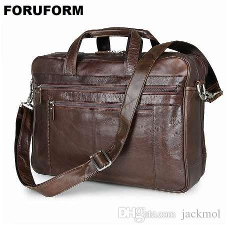a68588193 Genuine Leather Men Briefcase 17 Inch Business Laptop Tote Bag Cowhide Men's  Messenger Bags Lawyer Handbag Shoulder Bag For Male