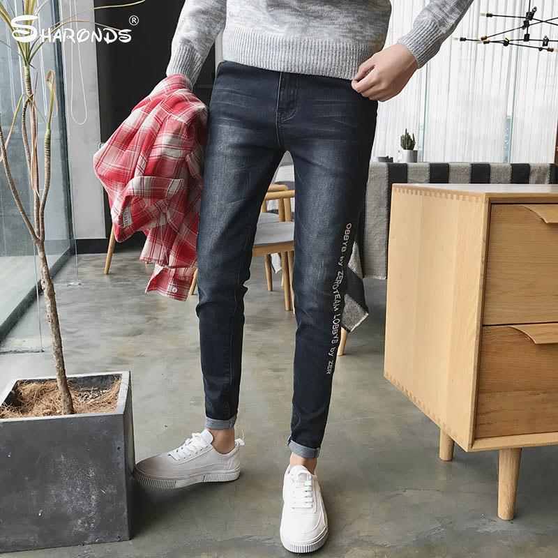 2cc8e4ef4d2 2019 Spring Summer New Nine Point Jeans Men S Feet Pants Slim Korean Youth  Stretch Embroidery Men S Pants Men Fashion Trend From Burtom