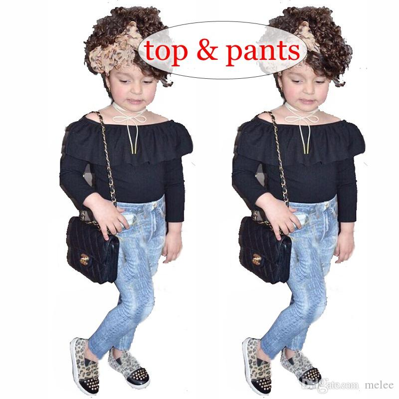 dd6e1c1838 2019 Retail INS Girls Black Off Shoulder Tops & Kids Denim Blue Jeans Pp Pants  Set 0 7years Free Ship From Melee, $8.55 | DHgate.Com
