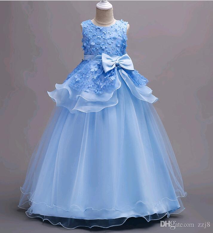 3ef234e33 2019 Children Costumes Long Style Lace Flower Girls Dresses Layers Korean Party  Wear For 5 16 Years Old Kids From Zzj8, $24.13   DHgate.Com