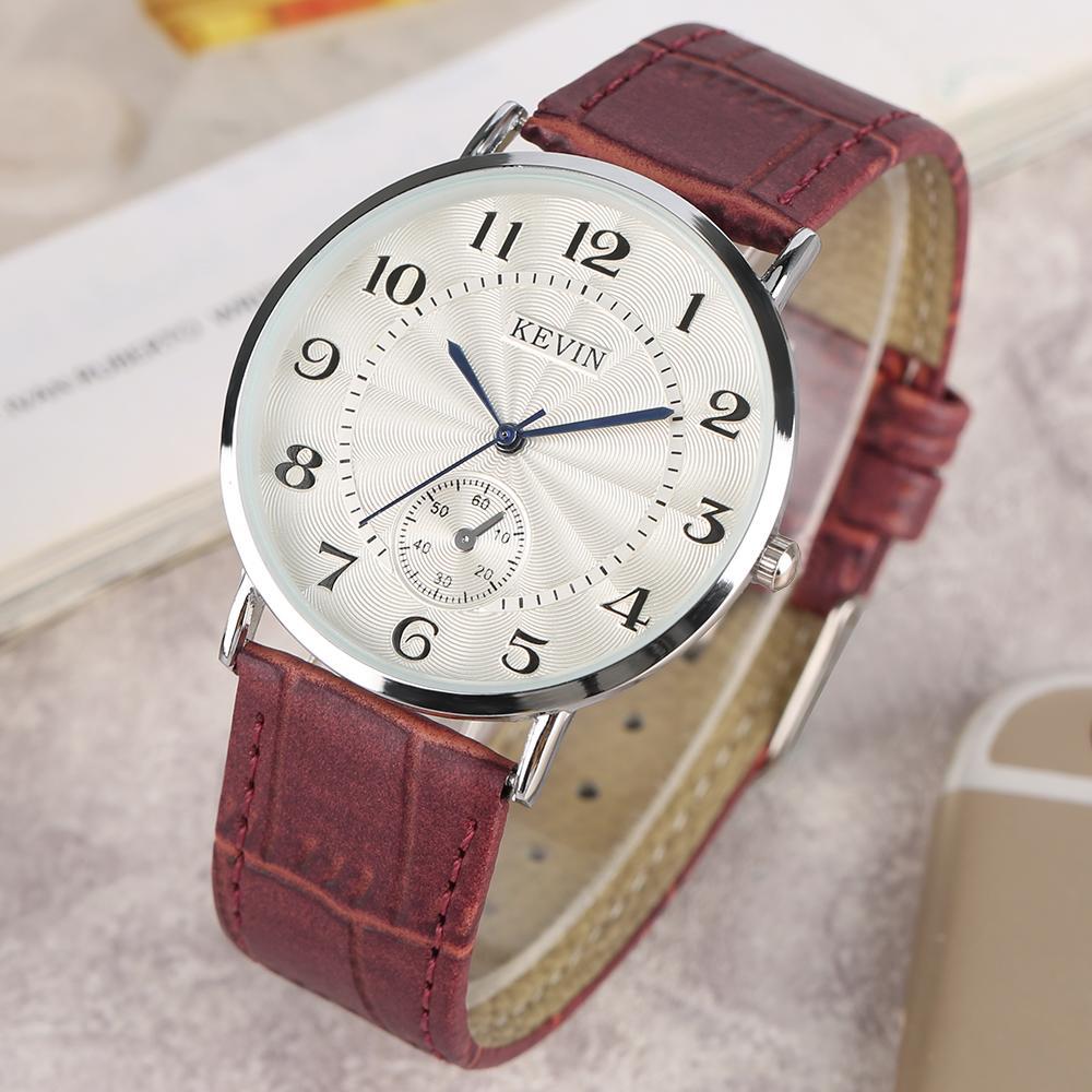 61da829d03cf Compre KEVIN Rojo   Negro   Blanco Correa De Cuero Señora Relojes Casual  Luz Moderna Mujeres Relojes De Pulsera Números Arábigos Dial Mujer Reloj  Regalo A ...