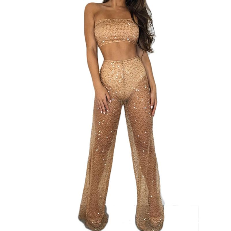 2019 Sparkly Sexy Set Women Off Shoulder Strapless Crop Top + See Through  Pant Elegant Outfit Two Piece Suits Party Clubwear From Wqasysos ff7083495830