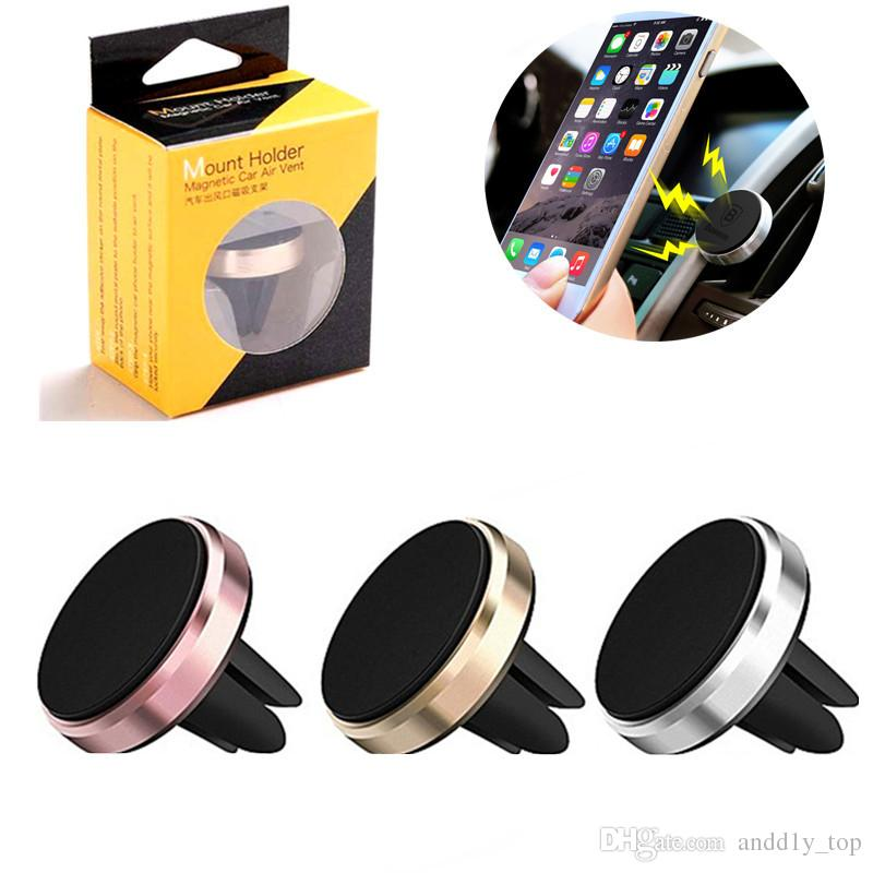 Universal Metal Air Vent Magnetic Mobile Phone Holder For iPhone Samsung Magnet Car Phone Holder Aluminum Silicone Mount Holder Stand