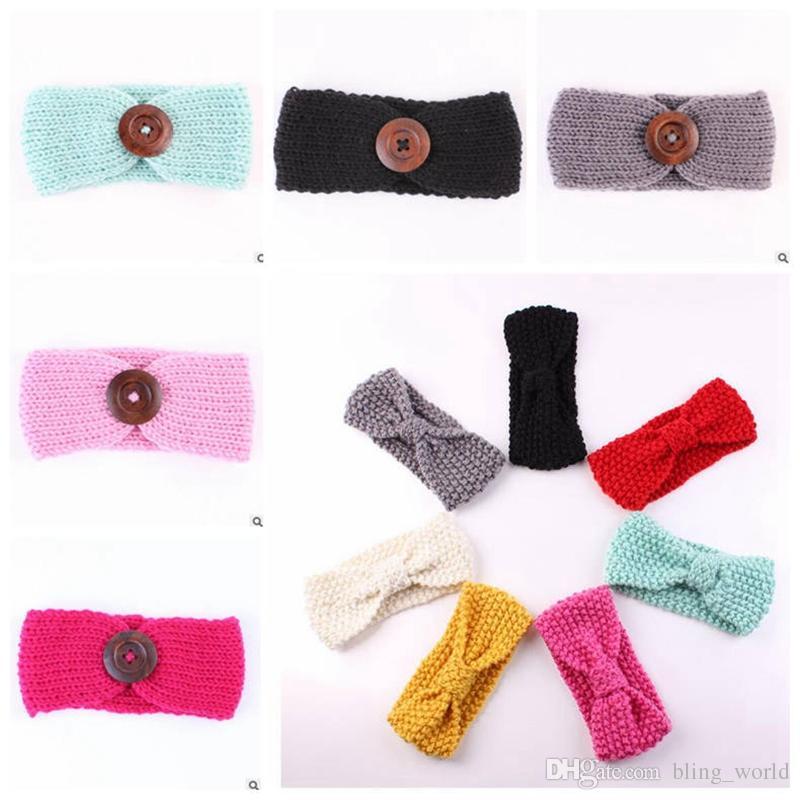Großhandel Baby Mädchen Stirnbänder Mode Wolle Häkeln Stirnband Mit