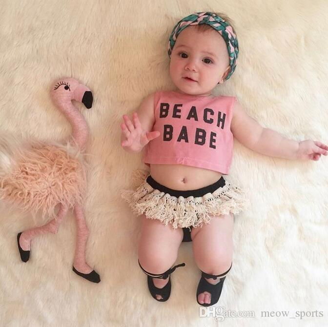 Baby Summer Girls Clothing Set Alphabetic Printing Fringed Suits Infant clothing Toddler Top+ Shorts 2pc baby girl suits